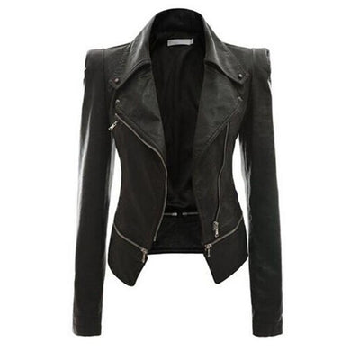 Zipper Lapel With Zips Plain Jacket