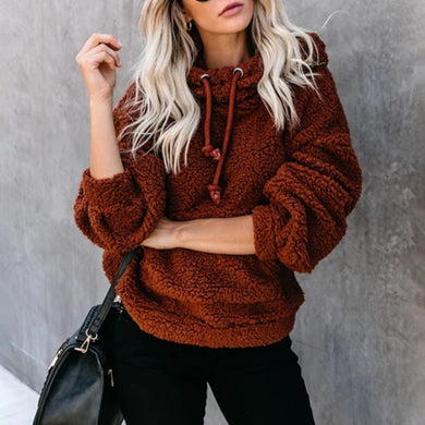 Casual Solid Color Hooded Sweater