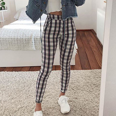 Womens Casual Plaid Printed Colour Pants