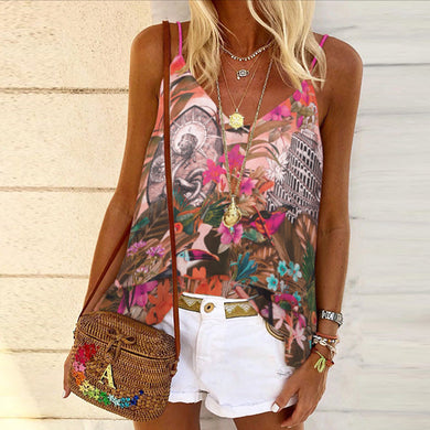 Floral print vest with thin straps