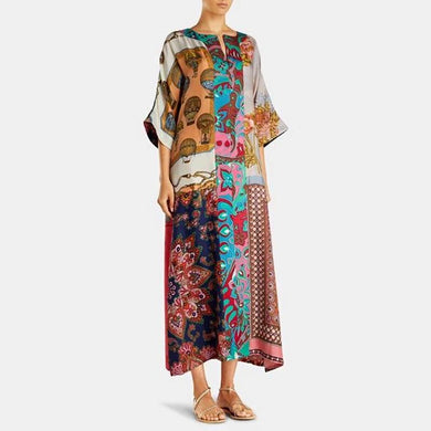 Straight cropped sleeves long print dress