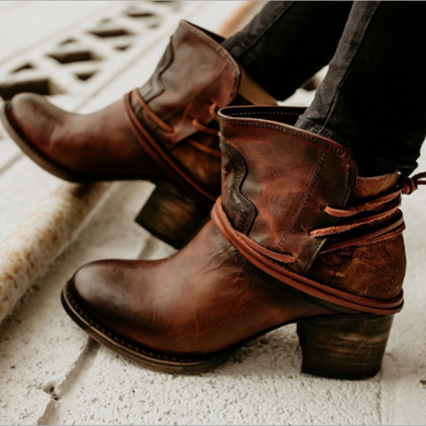 Fashion New Lace-Up Chunky Ankle Boots