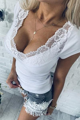 Casual Lace Patchwork Short Sleeves  T-Shirt