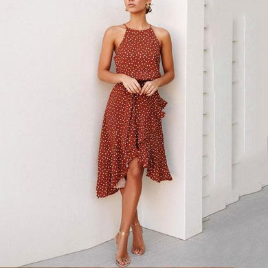 Off-The-Shoulder Design Loose Casual Wave Point Ruffled Dress