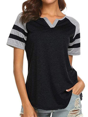 V Neck  Patchwork  Stripes Short Sleeve T-Shirts