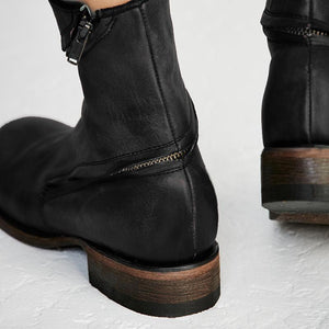 Female New British Flat Zipper Martin Boots In The Tube Boots