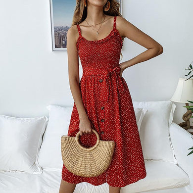 Fashion Printed Wooden Ear Straps Halter Lace Dress