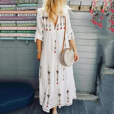 V Neck  Floral Printed Holiday Embroidered Floral Casual Maxi Dresses