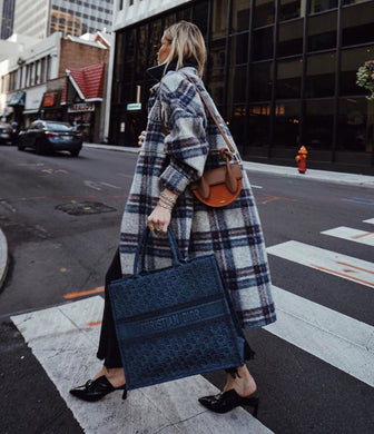 Fashion Turndown Collar Long Sleeve Plaid Overcoat