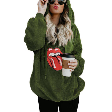 Casual hooded print loose color fluffy sweatshirt