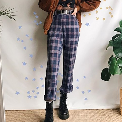 Street Style Subgrain Plaid Casual Pants