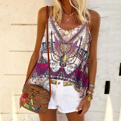 Casual Abstract Style Print Suspenders vest