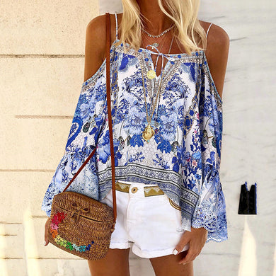Fashion trumpet sleeves loose printed strapless T-shirt