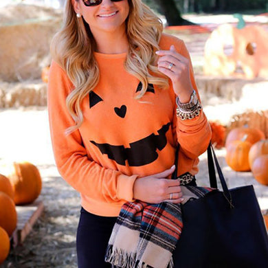 Casual Round Neck Halloween Party Pumpkin Print Sweatershirt