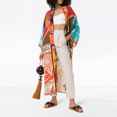 Kimono robe long print cardigan dress
