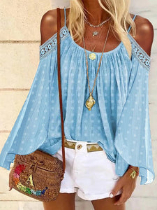 Casual Pure Color Off Shoulder Sling Shirt