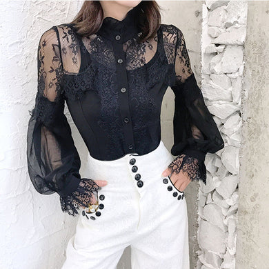 Sexy lace lantern sleeves stitching women's top