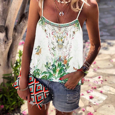Casual printed floral camisole T-shirt