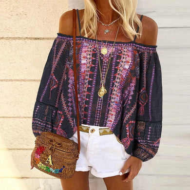 Fashion halter print T-shirt with one-shoulder print