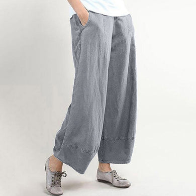 Casual solid colored loose cotton linen trousers