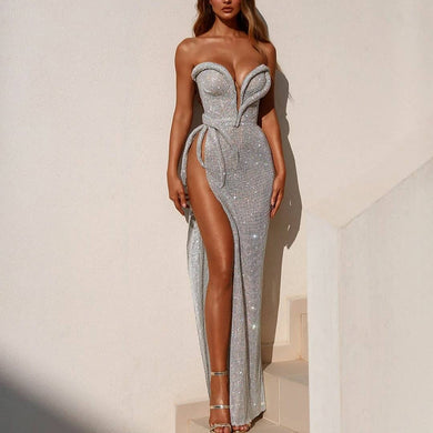 Sexy tube top solid color high slit dress