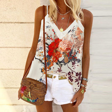 Fashionable leisure peony printing halter vest