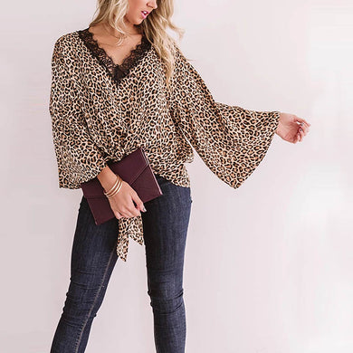 Leopard Stitching Lace Sexy V-neck Long-sleeved Shirt