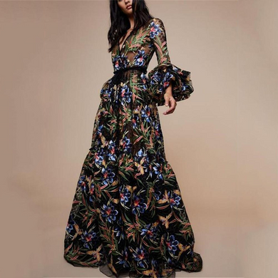 Flash Sale Sexy V-Collar Print Long-Sleeved Maxi Dress