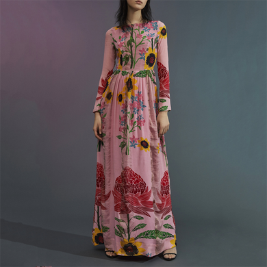 Flash Sale Fashion Printing Long-Sleeved Maxi Dress