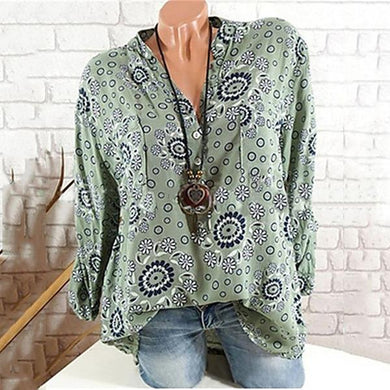 Printed Long Sleeve V-Neck Blouses