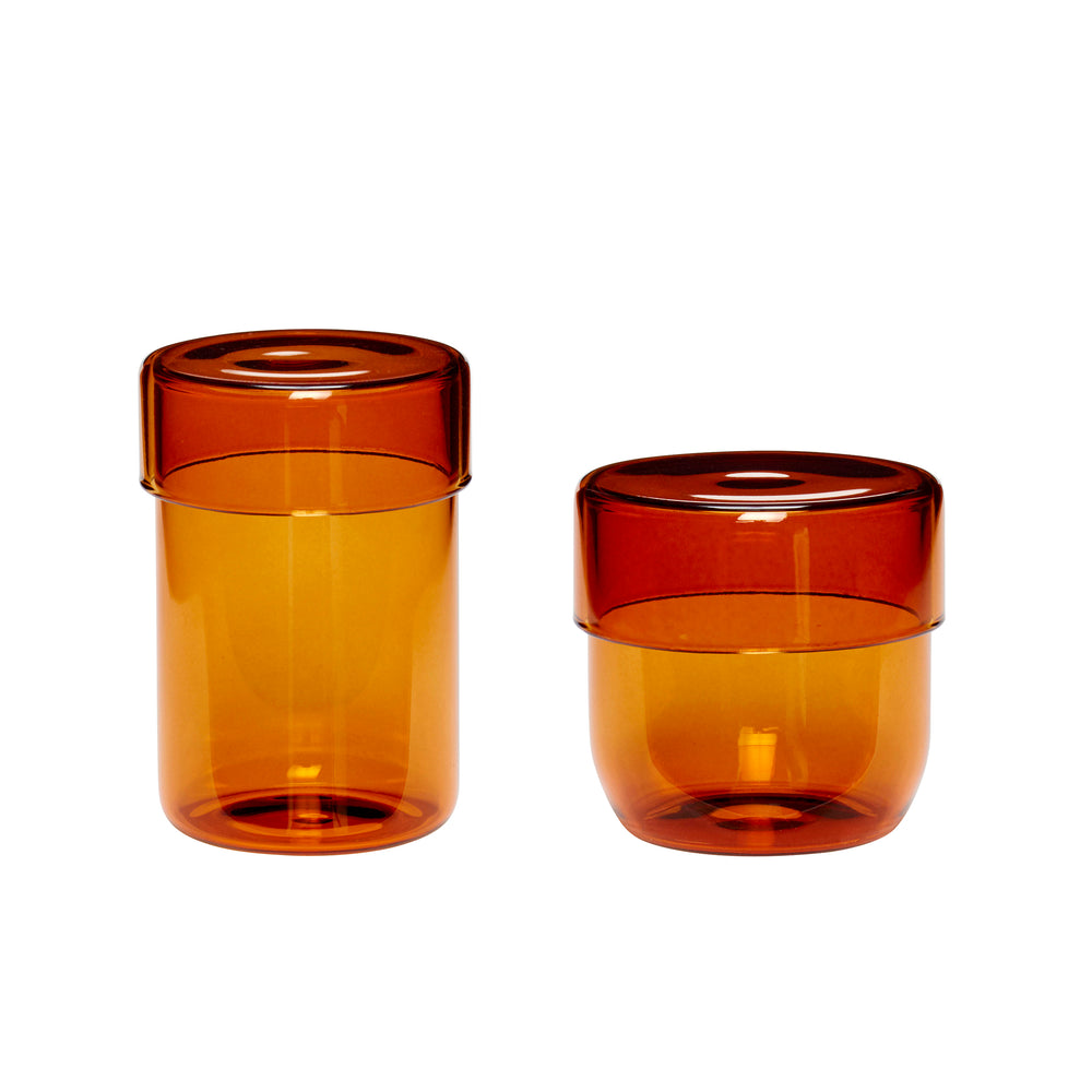 <transcy>Glass Jar / Amber / Set of 2</transcy>