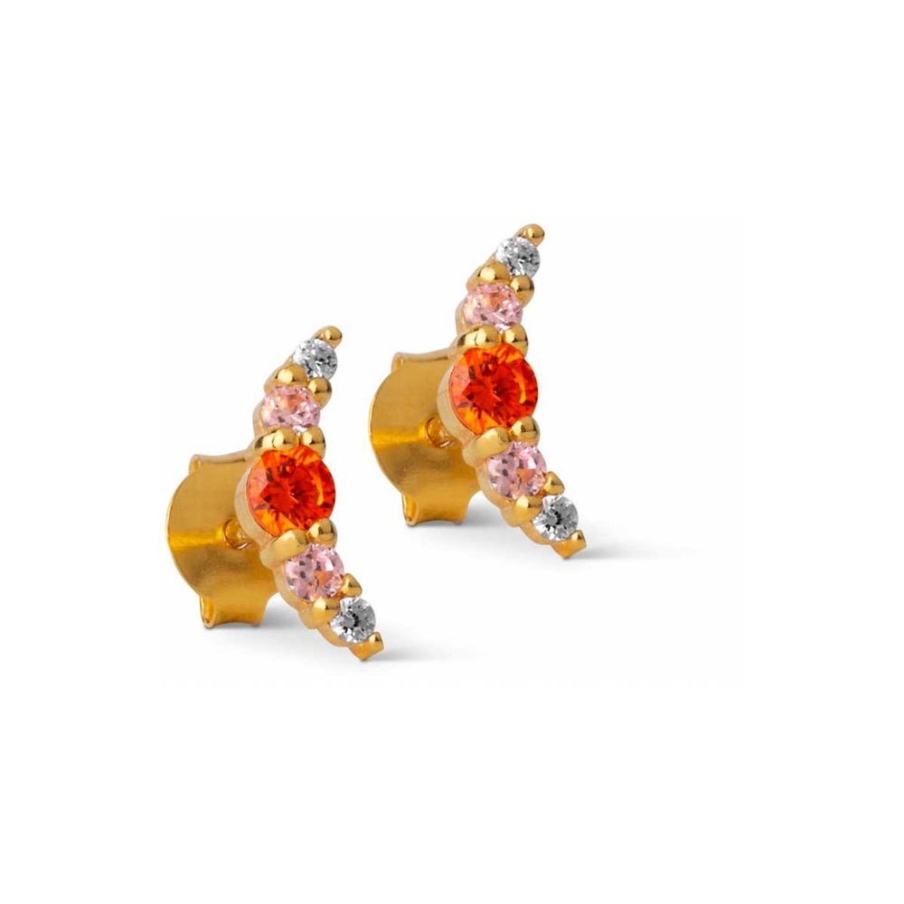Earring / Refina - Orange, Light Pink