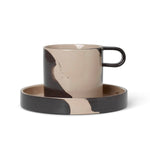 Inlay Mug with Saucer / Sand-Black