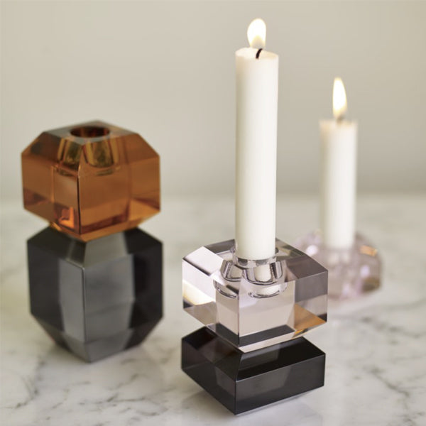 <transcy>Candlestick / Glass, Pink &amp; Gray</transcy>