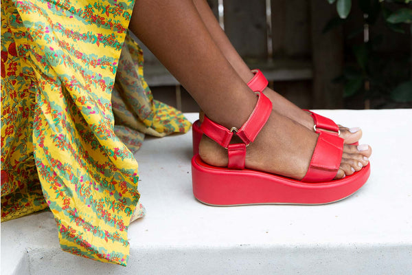 secondary image ROO Flatform Sandal - Red - on model shot noscript image