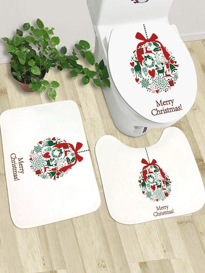 Christmas Floor Mat (2pcs With Closestool Lid)