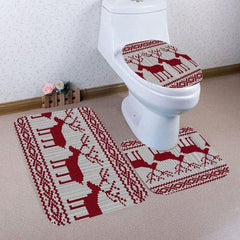 Christmas Bathroom Accessories Toilet Rugs Set