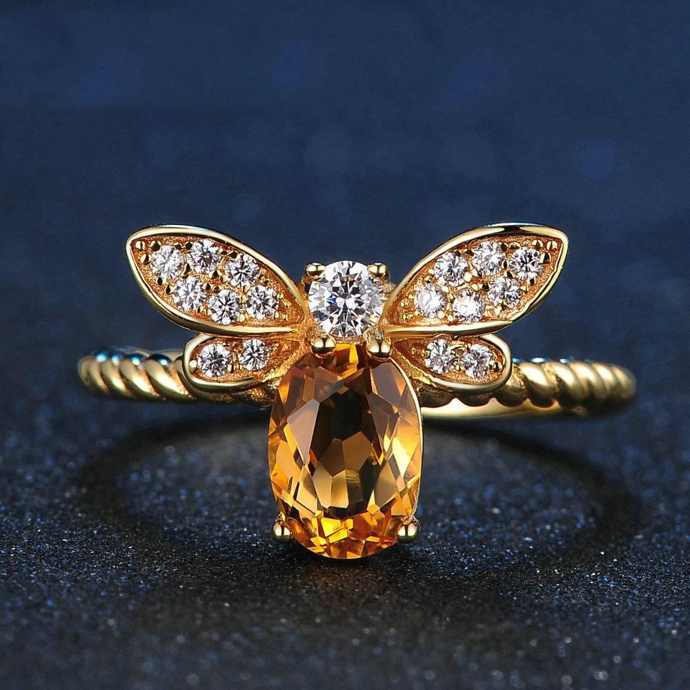 Crystal Bee Rings- Bee jewelry