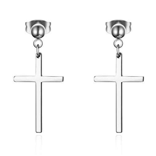 Steel Cross Earrings