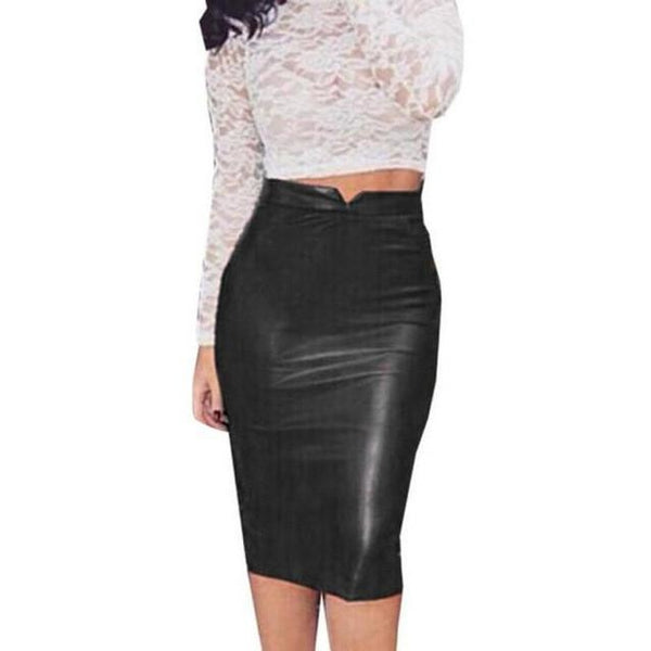 PU Leather Pencil Skirt | Various Colours