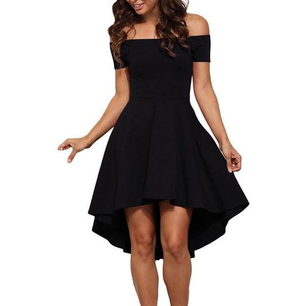Plunge High Low Skater Dress