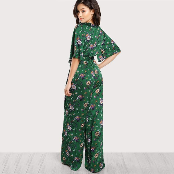 Bell Sleeve Plunge Neck Jumpsuit