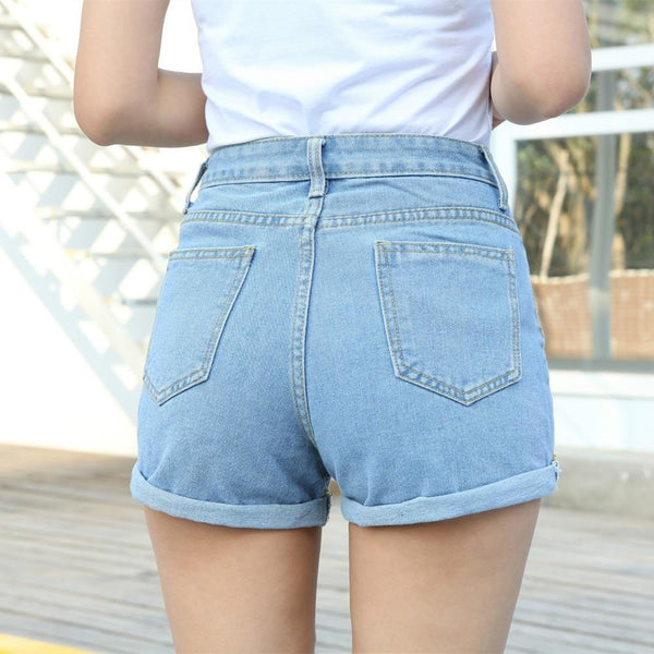 High Waist Stretch Denim Shorts