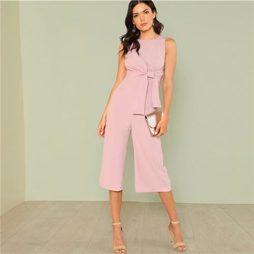 Side Knot Front Blush Jumpsuit
