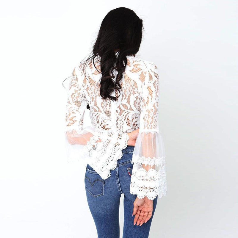 Bell Sleeve Laced Crop Top