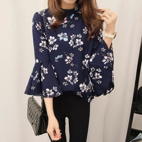 Floral Flare Sleeve Chiffon Blouse