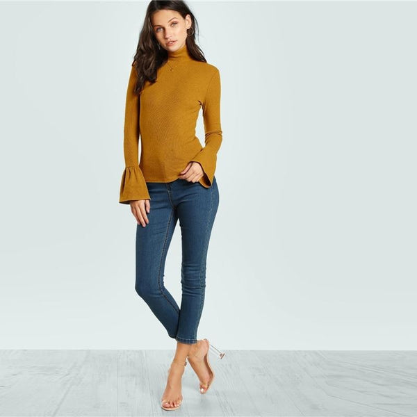Bell Cuff Turtleneck Top