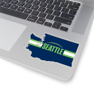 Seattle Football Washington Outline Sticker (Blue Design)