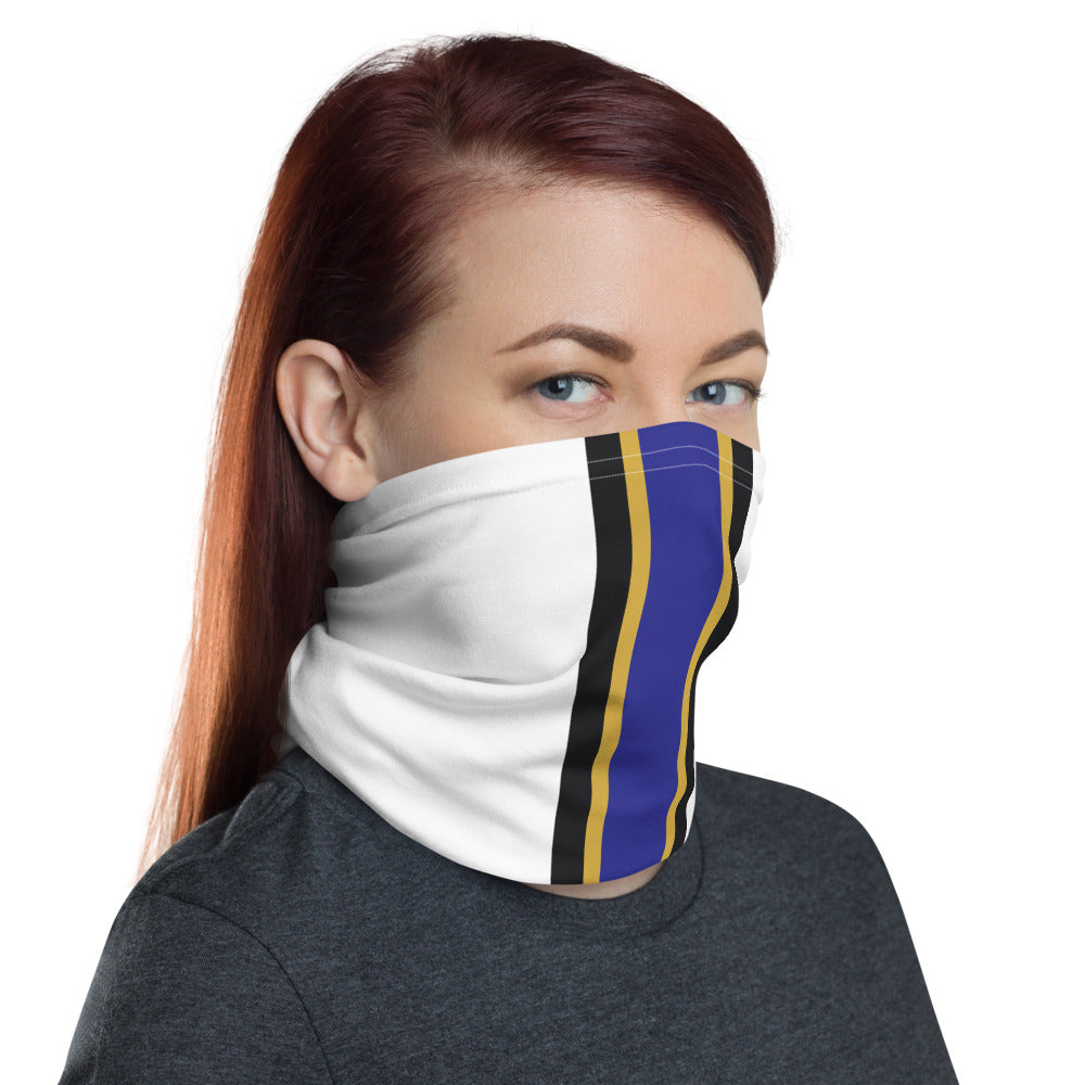Baltimore Ravens Style Neck Gaiter as Face Mask on Woman Right