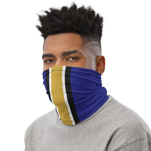Baltimore Ravens Style Neck Gaiter as Face Mask on Man Left